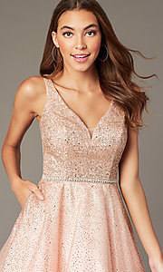 Image of short sparkly glitter-mesh homecoming party dress. Style: DQ-3178 Detail Image 6