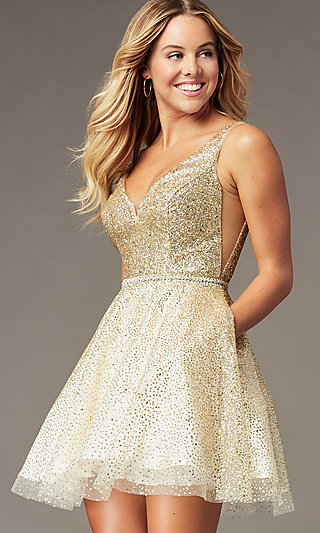 Short Sparkly Glitter-Mesh Homecoming Party Dress