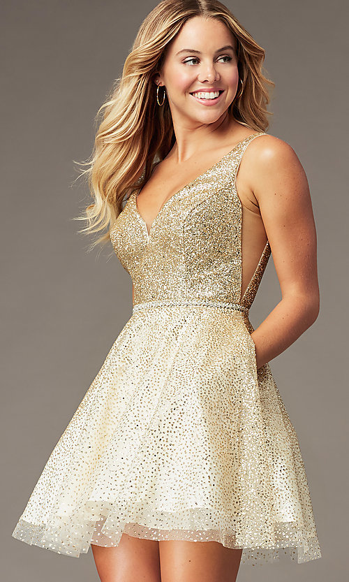 Image of short sparkly glitter-mesh homecoming party dress. Style: DQ-3178 Front Image