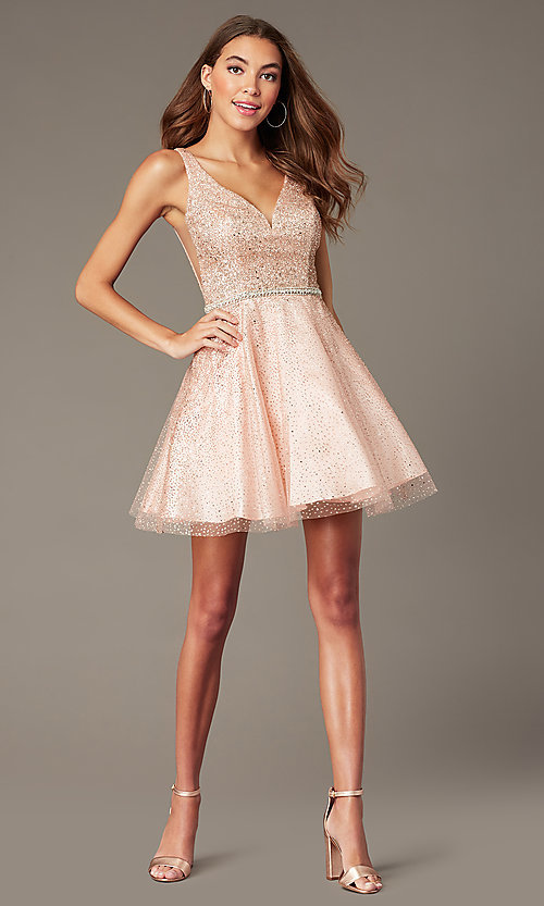 Image of short sparkly glitter-mesh homecoming party dress. Style: DQ-3178 Detail Image 3