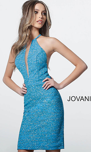 Short Jovani Glitter Sleeveless Homecoming Dress