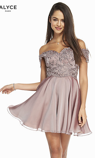 Alyce Off-the-Shoulder Purple Homecoming Dress