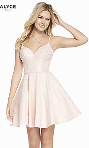 Image of short light pink homecoming party dress. Style: AL-3892 Front Image