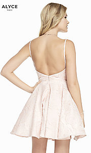 Image of short light pink homecoming party dress. Style: AL-3892 Back Image