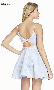 Image of fit-and-flare short periwinkle blue party dress. Style: AL-3902 Back Image