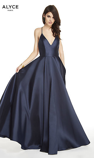 Long Open-Back A-Line Formal Gown by Alyce