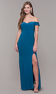 Image of Dave and Johnny long teal formal prom dress. Style: DJ-A6086-v Front Image
