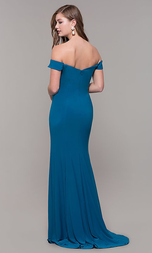 Image of Dave and Johnny long teal formal prom dress. Style: DJ-A6086-v Back Image