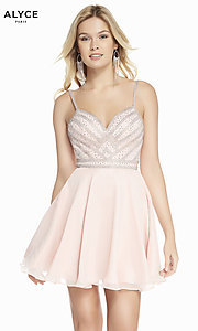 Image of pink champagne chiffon party dress with beads. Style: AL-A4150 Front Image