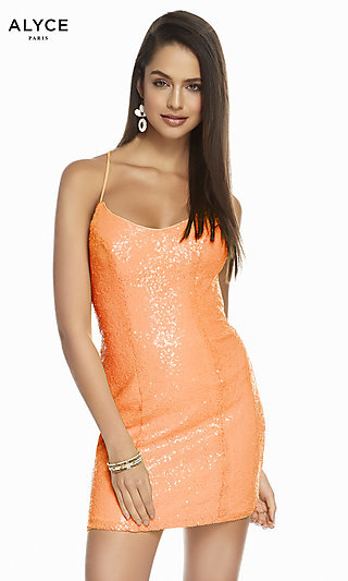 Short Open-Back Sequin Homecoming Dress by Alyce