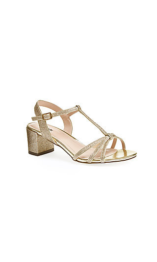 Sadie Open-Toe Gold Sandal with a Block Heel