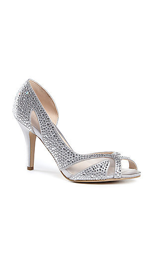 Catrina Silver Crystal and Satin Pump