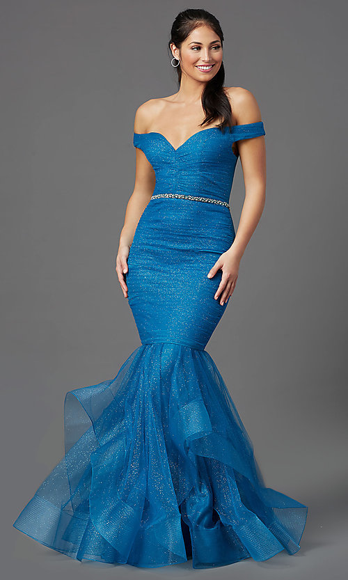 Image of teal blue off-shoulder glitter mermaid prom dress. Style: TI-GL-1911P8366G Front Image
