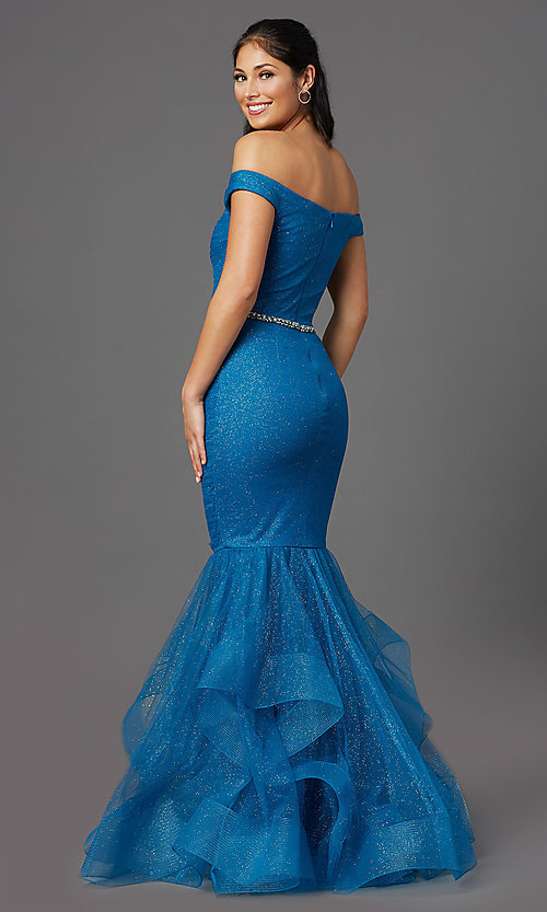 Image of teal blue off-shoulder glitter mermaid prom dress. Style: TI-GL-1911P8366G Back Image