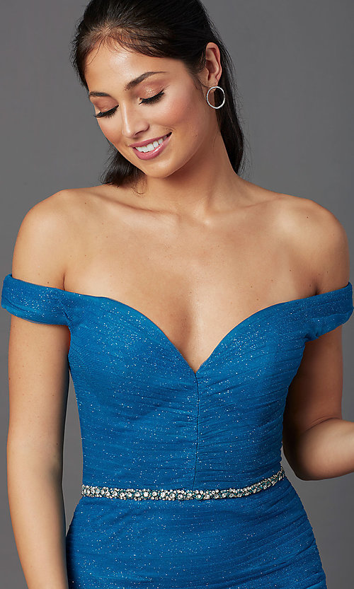 Image of teal blue off-shoulder glitter mermaid prom dress. Style: TI-GL-1911P8366G Detail Image 1