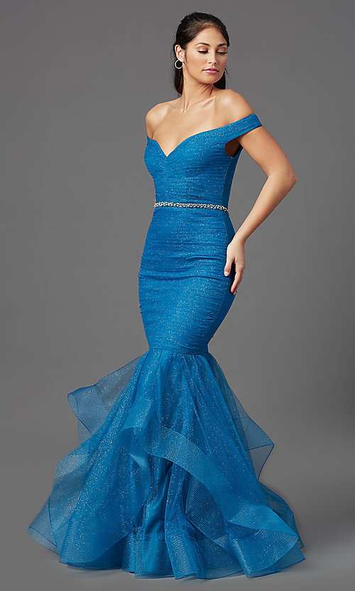 Image of teal blue off-shoulder glitter mermaid prom dress. Style: TI-GL-1911P8366G Detail Image 2