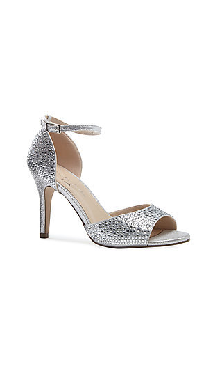 Open-Toe Silver Mira Heel with Crystal Details