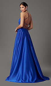 Image of royal blue long corset-back formal prom dress. Style: TI-GL-1911P8178G Back Image