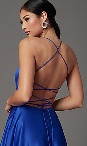 Image of royal blue long corset-back formal prom dress. Style: TI-GL-1911P8178G Detail Image 1