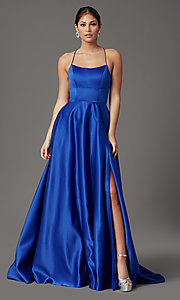 Image of royal blue long corset-back formal prom dress. Style: TI-GL-1911P8178G Detail Image 2
