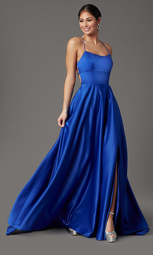 Image of royal blue long corset-back formal prom dress. Style: TI-GL-1911P8178G Front Image