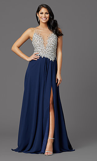 Illusion-Bodice Long Formal Prom Dress with Beads