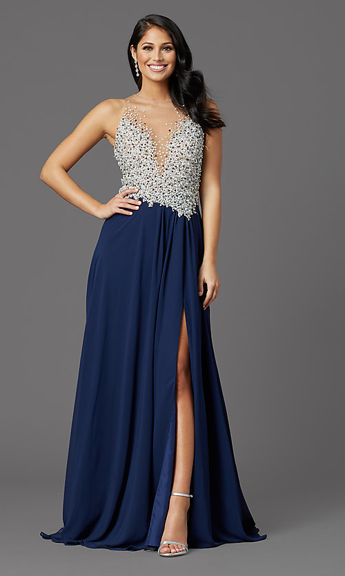 Image of illusion-bodice long formal prom dress with beads. Style: TI-GL-1612P0502G Front Image