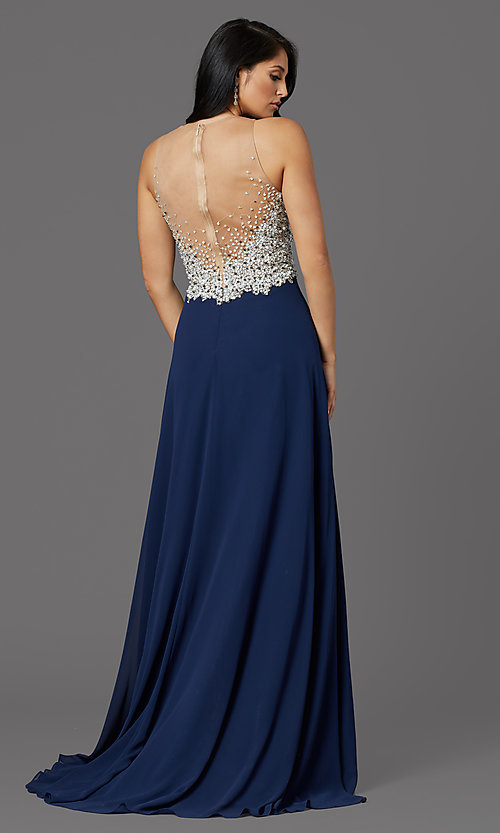 Image of illusion-bodice long formal prom dress with beads. Style: TI-GL-1612P0502G Back Image
