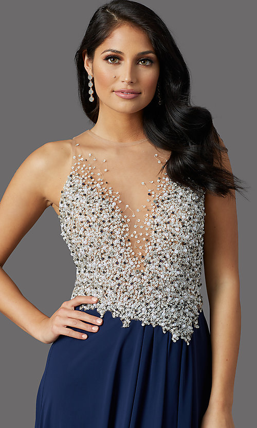 Image of illusion-bodice long formal prom dress with beads. Style: TI-GL-1612P0502G Detail Image 1