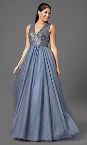 Image of rhinestone-bodice charcoal gray long prom dress. Style: TI-GL-1812P5419 Front Image