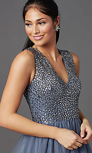 Image of rhinestone-bodice charcoal gray long prom dress. Style: TI-GL-1812P5419 Detail Image 1