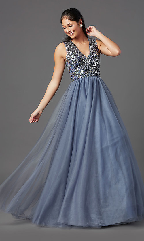 Image of rhinestone-bodice charcoal gray long prom dress. Style: TI-GL-1812P5419 Detail Image 2