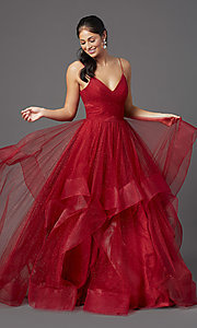 Image of open-back long glitter tulle ruby red prom dress. Style: TI-GL-1811P5849 Front Image