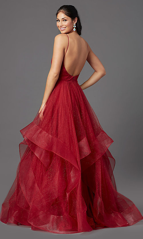 Image of open-back long glitter tulle ruby red prom dress. Style: TI-GL-1811P5849 Back Image