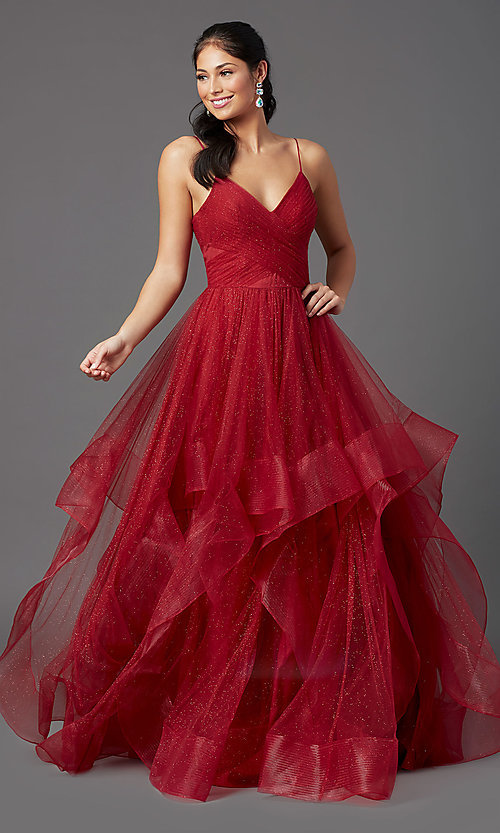 Image of open-back long glitter tulle ruby red prom dress. Style: TI-GL-1811P5849 Detail Image 2