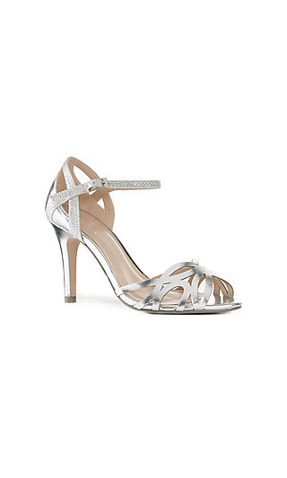 Metallic Silver Open-Toe Monica Heels