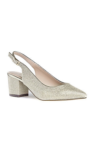 Aubree Champagne Slingback Pump with a Block Heel