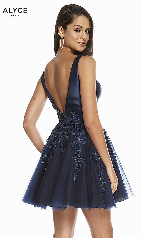 Image of navy and black short homecoming party dress. Style: AL-3842 Back Image