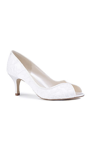 Christabel Lace Peep-Toe Pump in Ivory