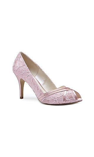 Cherie Lace Peep-Toe Pump in Pink