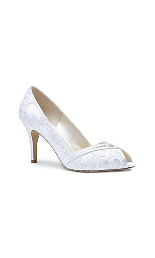 Lace Cherie Peep-Toe Pump in Ivory