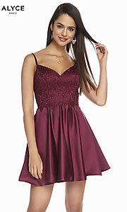 Image of short silk fit-and-flare homecoming party dress. Style: AL-3848 Front Image