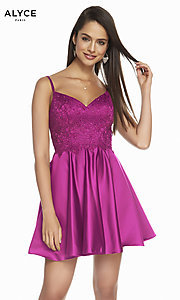 Image of short silk fit-and-flare homecoming party dress. Style: AL-3848 Detail Image 1