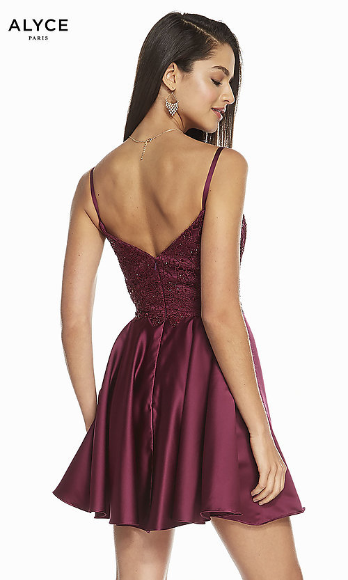 Image of short silk fit-and-flare homecoming party dress. Style: AL-3848 Back Image
