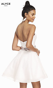 Image of french pink strapless short homecoming party dress. Style: AL-3856 Back Image