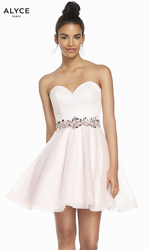 Image of french pink strapless short homecoming party dress. Style: AL-3856 Front Image