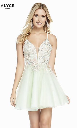 V-Neck Mint Green Fit-and-Flare Homecoming Dress