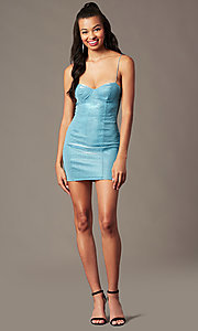 Image of open-back short sparkly blue holiday party dress. Style: BLU-IBD96108-1 Detail Image 1