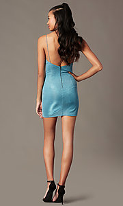 Image of open-back short sparkly blue holiday party dress. Style: BLU-IBD96108-1 Back Image