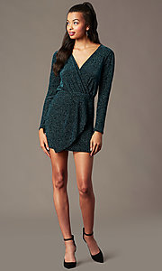 Image of faux-wrap short long-sleeve holiday party dress. Style: BLU-BD91113 Detail Image 1